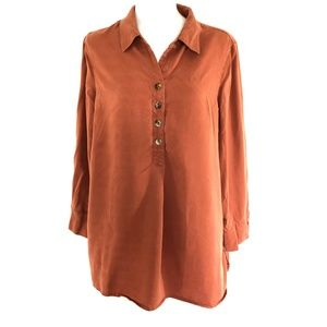 Soft Surroundings Womens Top Popover Tunic Button
